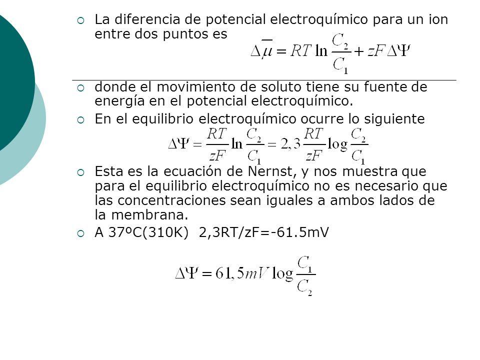 La diferencia de potencial electroquímico para un ion entre dos puntos es