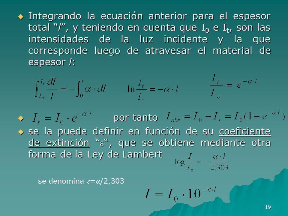 Integrando la ecuación anterior para el espesor total l , y teniendo en cuenta que I0 e It, son las intensidades de la luz incidente y la que corresponde luego de atravesar el material de espesor l: