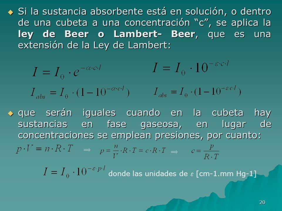 Si la sustancia absorbente está en solución, o dentro de una cubeta a una concentración c , se aplica la ley de Beer o Lambert- Beer, que es una extensión de la Ley de Lambert: