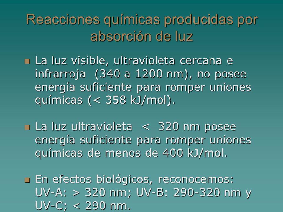 Reacciones químicas producidas por absorción de luz