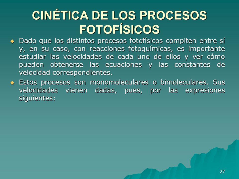 CINÉTlCA DE LOS PROCESOS FOTOFÍSICOS
