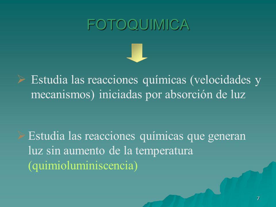 FOTOQUIMICA Estudia las reacciones químicas (velocidades y mecanismos) iniciadas por absorción de luz.