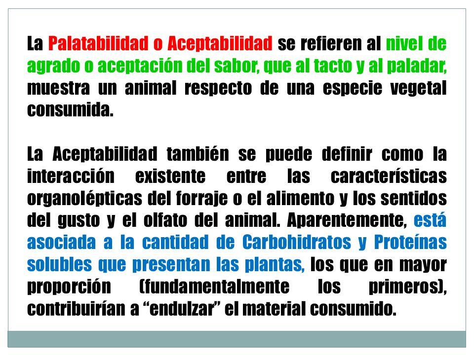 La Palatabilidad o Aceptabilidad se refieren al nivel de agrado o aceptación del sabor, que al tacto y al paladar, muestra un animal respecto de una especie vegetal consumida.