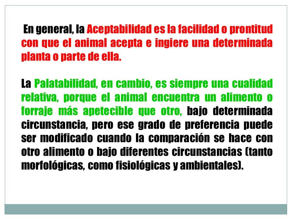 En general, la Aceptabilidad es la facilidad o prontitud con que el animal acepta e ingiere una determinada planta o parte de ella.