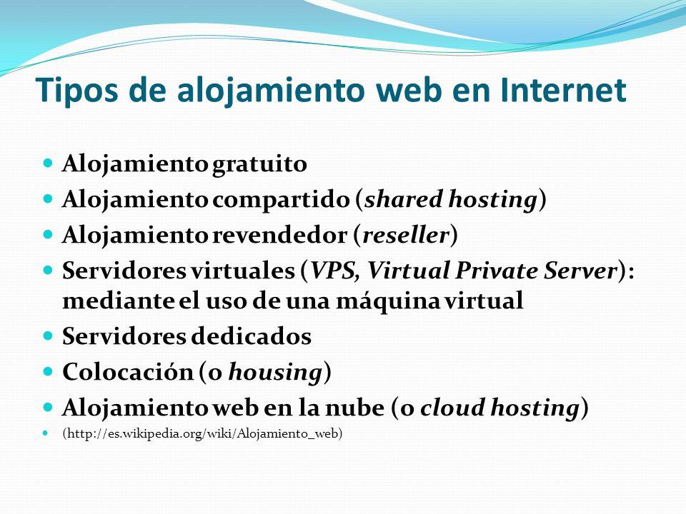 Tipos de alojamiento web en Internet