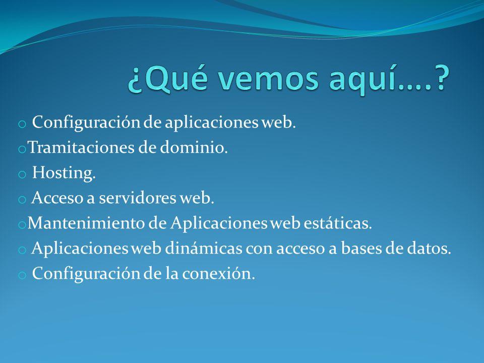 ¿Qué vemos aquí…. Configuración de aplicaciones web.