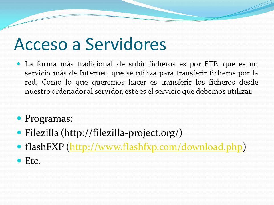 Acceso a Servidores Programas: