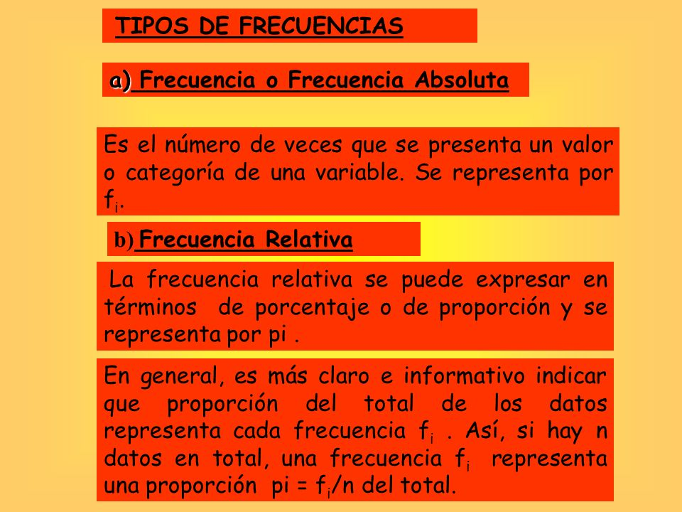 TIPOS DE FRECUENCIASa) Frecuencia o Frecuencia Absoluta.
