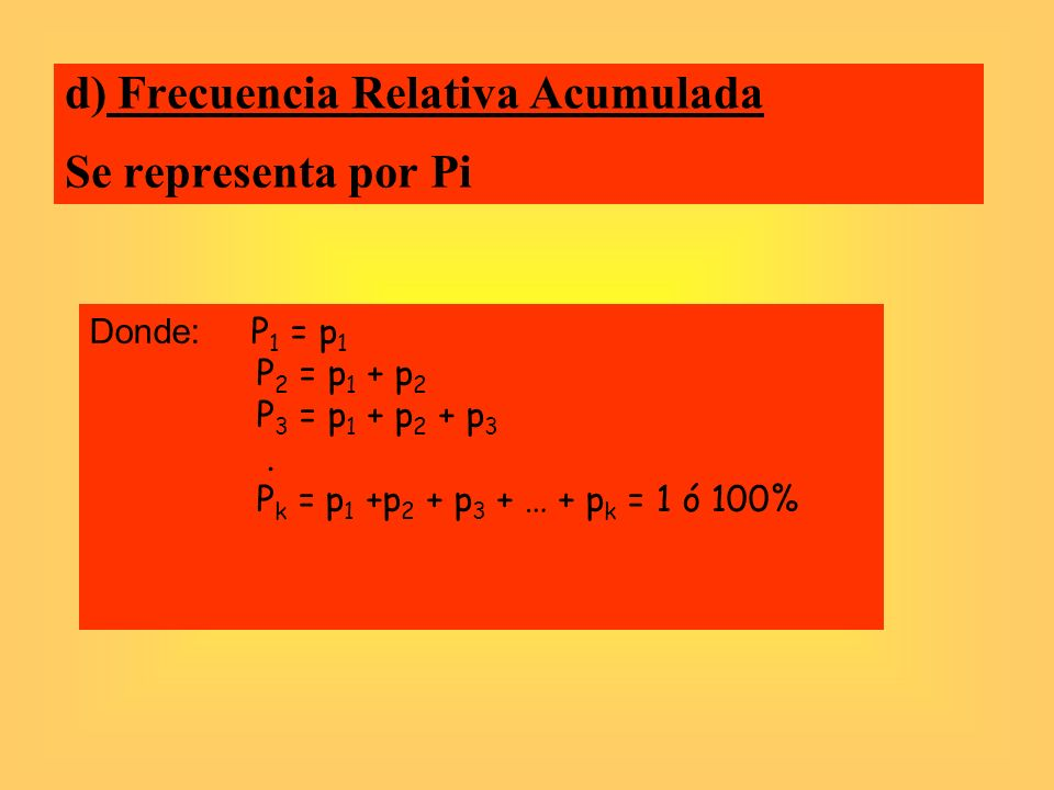 d) Frecuencia Relativa Acumulada Se representa por Pi