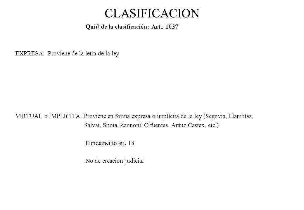 CLASIFICACION Quid de la clasificación: Art.. 1037
