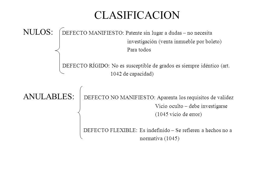 CLASIFICACION NULOS: DEFECTO MANIFIESTO: Patente sin lugar a dudas – no necesita. investigación (venta inmueble por boleto)
