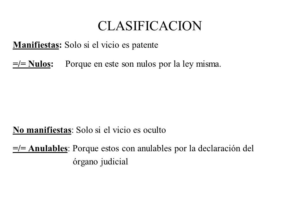 CLASIFICACION Manifiestas: Solo si el vicio es patente
