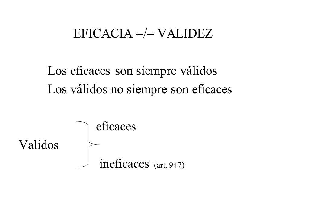 EFICACIA =/= VALIDEZ Los eficaces son siempre válidos. Los válidos no siempre son eficaces. eficaces.