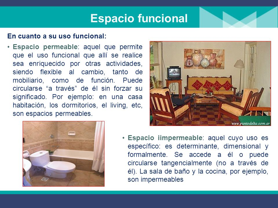 Espacio funcional En cuanto a su uso funcional: