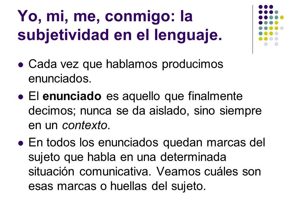 Yo, mi, me, conmigo: la subjetividad en el lenguaje.