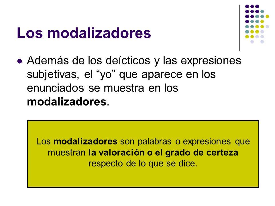 Los modalizadores Además de los deícticos y las expresiones subjetivas, el yo que aparece en los enunciados se muestra en los modalizadores.