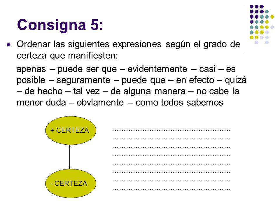 Consigna 5: Ordenar las siguientes expresiones según el grado de certeza que manifiesten: