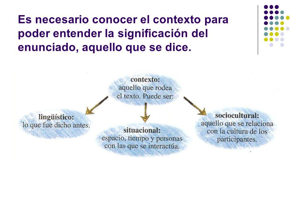 Es necesario conocer el contexto para poder entender la significación del enunciado, aquello que se dice.