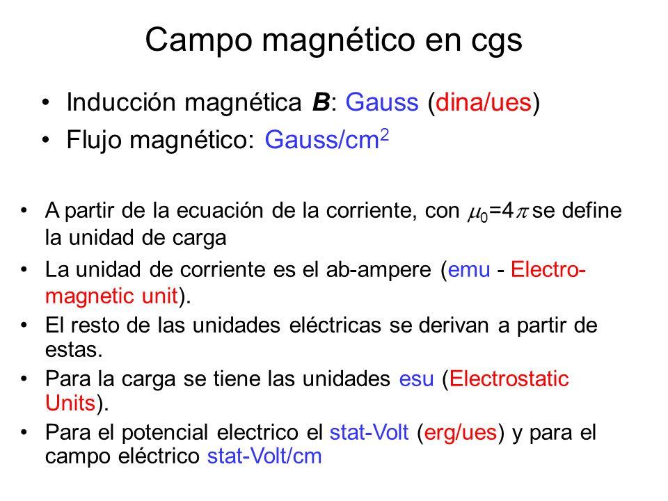 Campo magnético en cgs Inducción magnética B: Gauss (dina/ues)