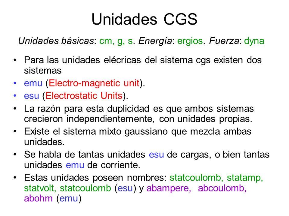 Unidades CGS Unidades básicas: cm, g, s. Energía: ergios. Fuerza: dyna