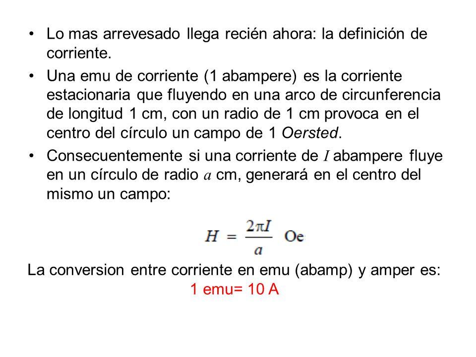 La conversion entre corriente en emu (abamp) y amper es: 1 emu= 10 A