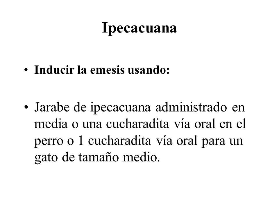 Ipecacuana Inducir la emesis usando: