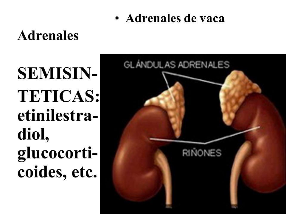 TETICAS: etinilestra-diol, glucocorti-coides, etc.