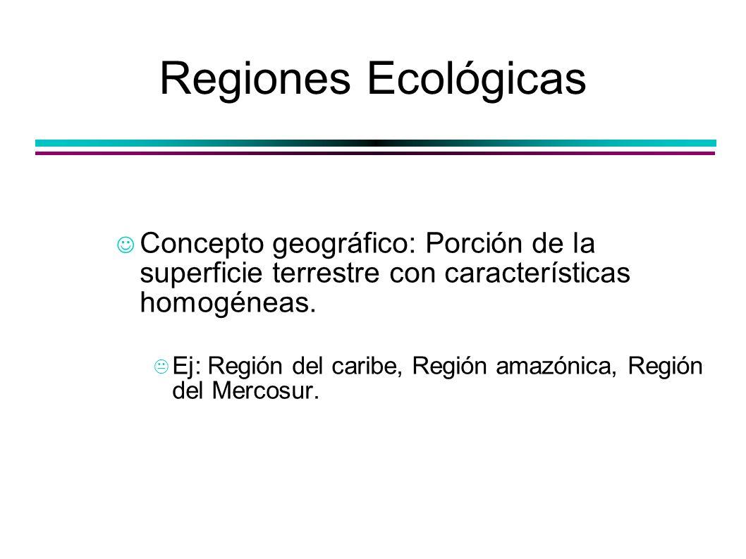 Regiones EcológicasConcepto geográfico: Porción de la superficie terrestre con características homogéneas.