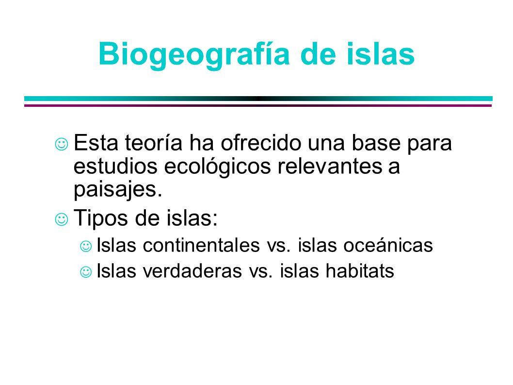 Biogeografía de islasEsta teoría ha ofrecido una base para estudios ecológicos relevantes a paisajes.