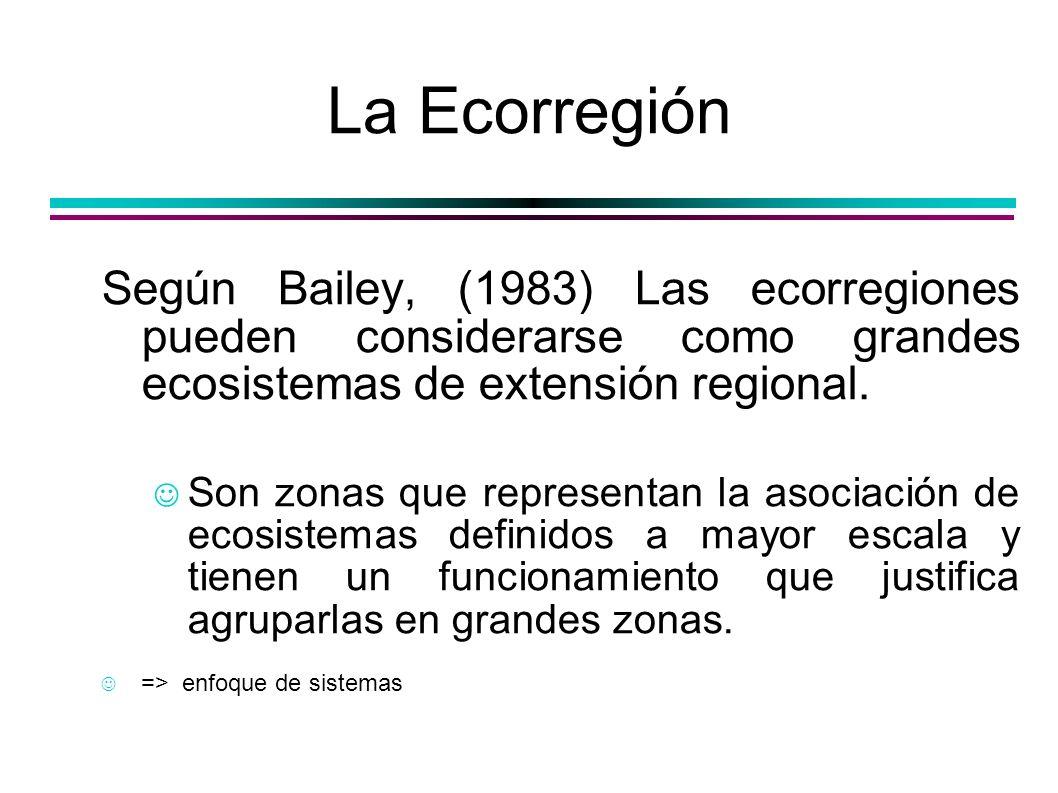 La EcorregiónSegún Bailey, (1983) Las ecorregiones pueden considerarse como grandes ecosistemas de extensión regional.