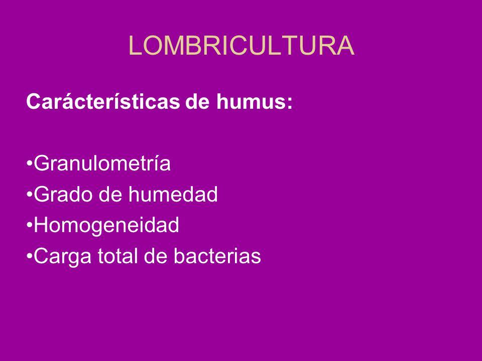 LOMBRICULTURA Carácterísticas de humus: Granulometría Grado de humedad