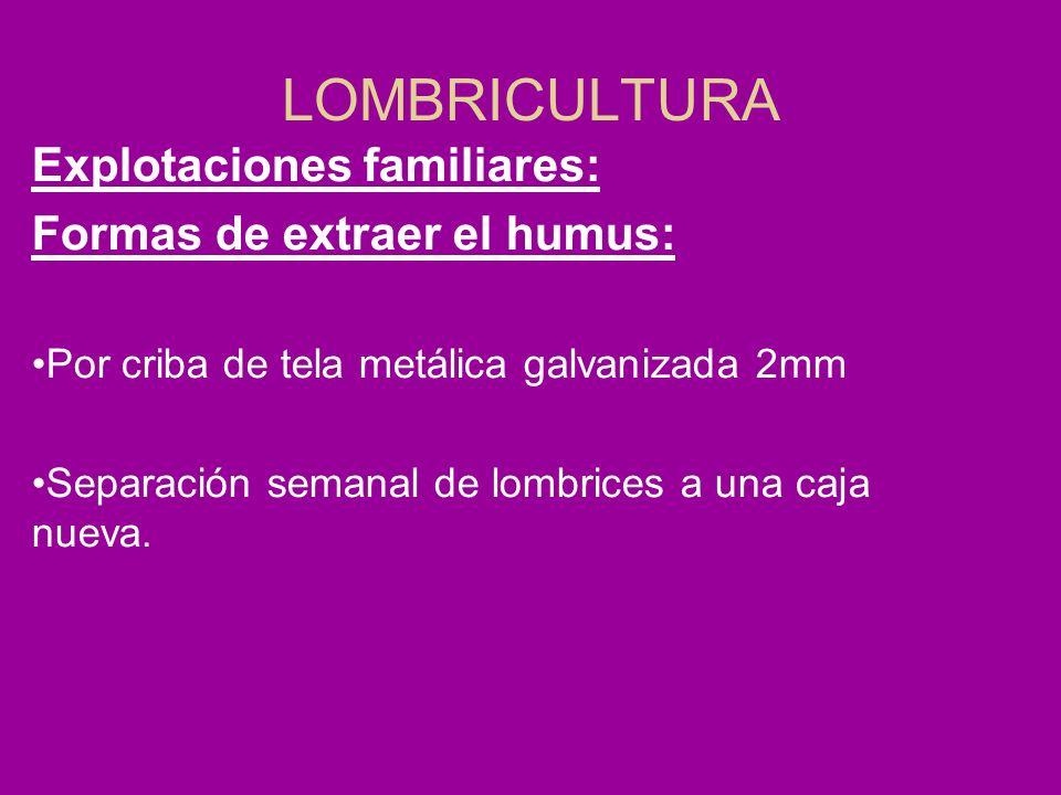 LOMBRICULTURA Explotaciones familiares: Formas de extraer el humus: