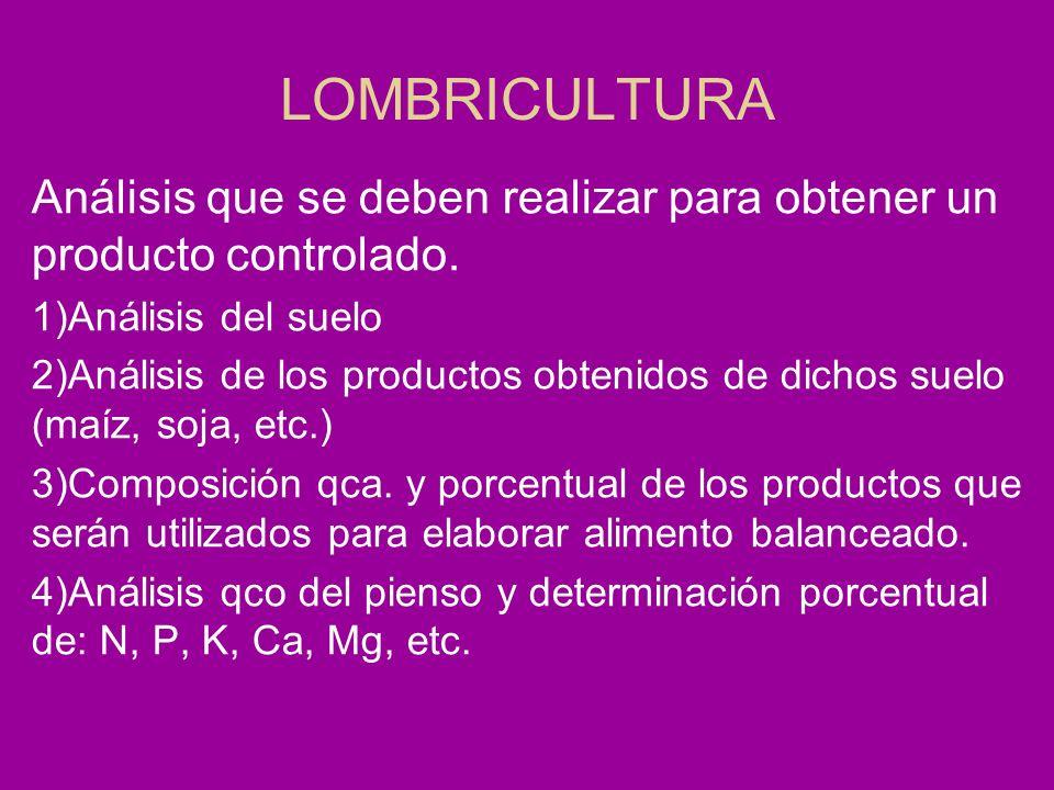 LOMBRICULTURA Análisis que se deben realizar para obtener un producto controlado. 1)Análisis del suelo.