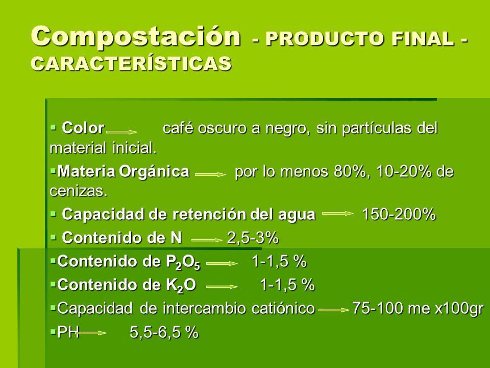 Compostación - PRODUCTO FINAL -CARACTERÍSTICAS