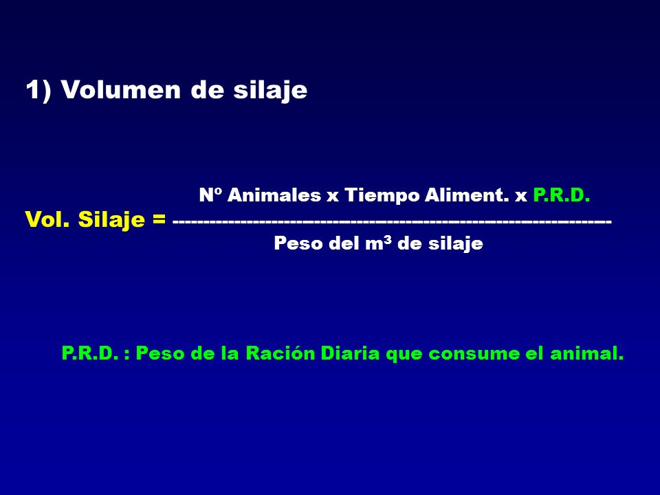 1) Volumen de silaje Peso del m3 de silaje