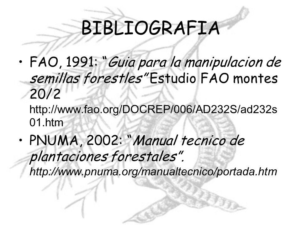 BIBLIOGRAFIA FAO, 1991: Guia para la manipulacion de semillas forestles Estudio FAO montes 20/2 http://www.fao.org/DOCREP/006/AD232S/ad232s01.htm.