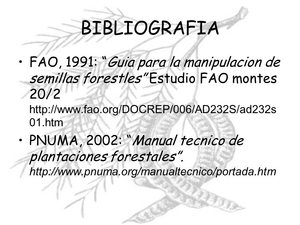 BIBLIOGRAFIAFAO, 1991: Guia para la manipulacion de semillas forestles Estudio FAO montes 20/2 http://www.fao.org/DOCREP/006/AD232S/ad232s01.htm.