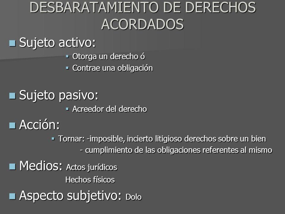 DESBARATAMIENTO DE DERECHOS ACORDADOS