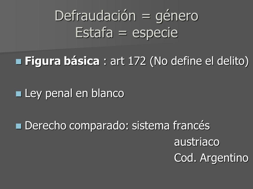 Defraudación = género Estafa = especie