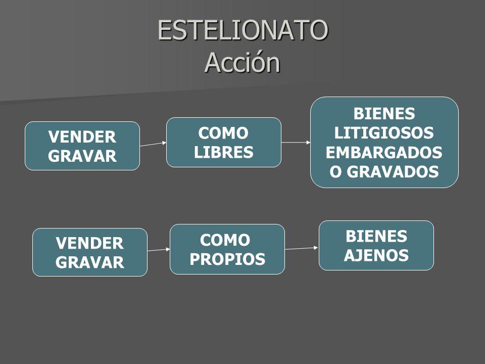 ESTELIONATO Acción BIENES LITIGIOSOS COMO EMBARGADOS O GRAVADOS VENDER