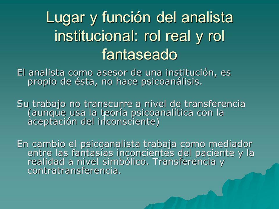 Lugar y función del analista institucional: rol real y rol fantaseado