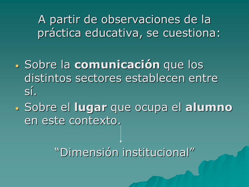 A partir de observaciones de la práctica educativa, se cuestiona:
