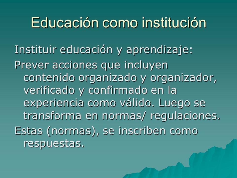 Educación como institución