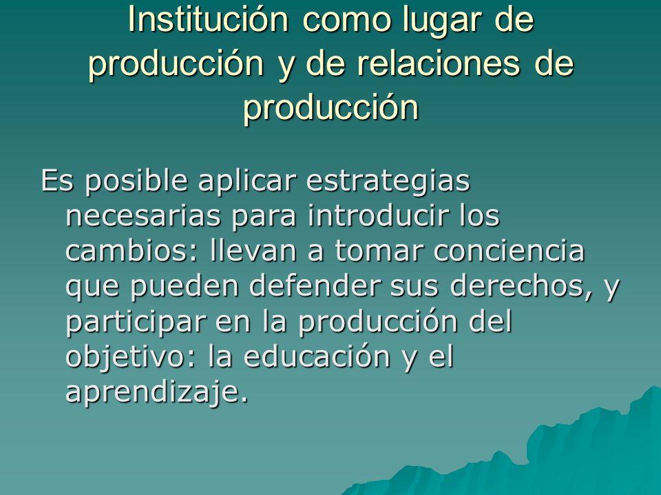 Institución como lugar de producción y de relaciones de producción