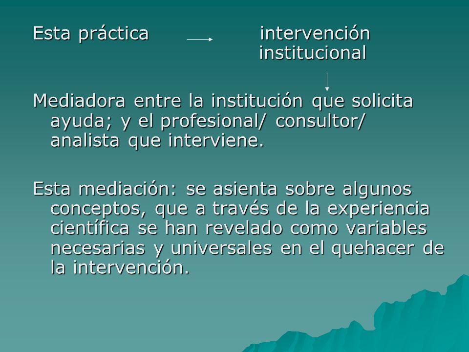 Esta práctica intervención institucional