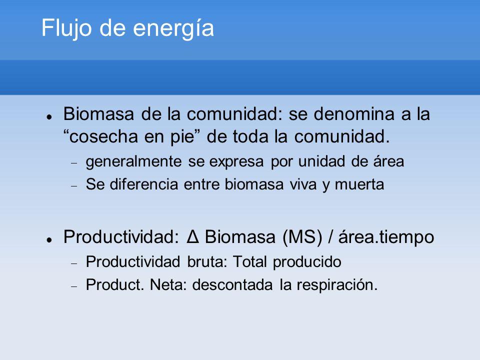 Flujo de energía Biomasa de la comunidad: se denomina a la cosecha en pie de toda la comunidad. generalmente se expresa por unidad de área.