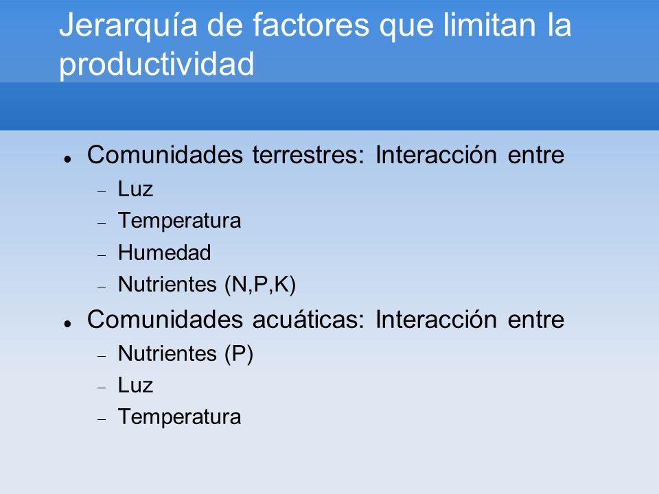 Jerarquía de factores que limitan la productividad