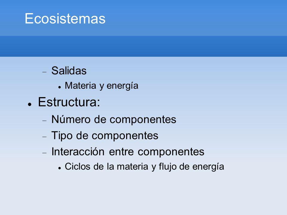 Ecosistemas Estructura: Salidas Número de componentes