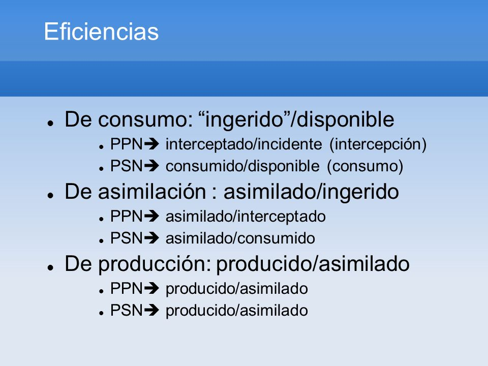 Eficiencias De consumo: ingerido /disponible
