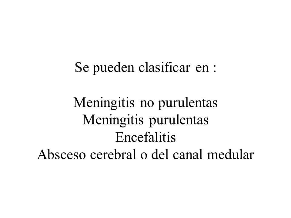 Se pueden clasificar en : Meningitis no purulentas Meningitis purulentas Encefalitis Absceso cerebral o del canal medular